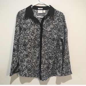 Chico's Paisley Black and White Button Up Blouse
